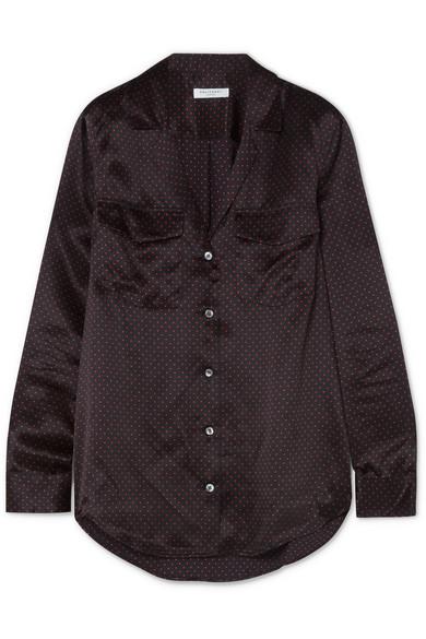 Equipment Ansley Hemd aus vorgewaschenem Seidensatin mit Polka-Dots