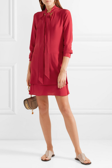 Equipment Narrow Mini Dress In Pre-washed Silk With Schluppe