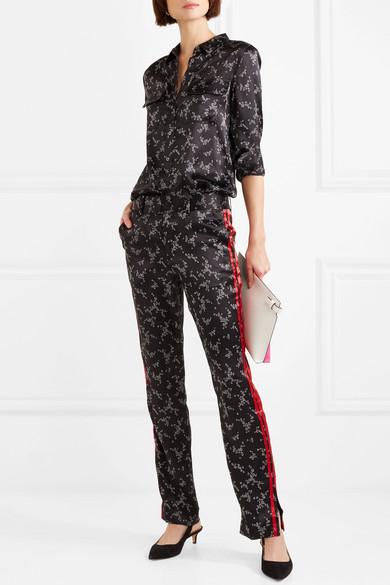 Equipment Florence Hose mit geradem Bein aus bedrucktem Seidensatin mit Streifen