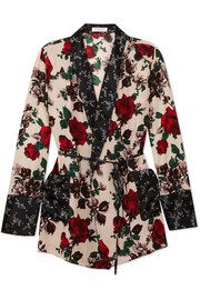 Theron floral-print silk robe