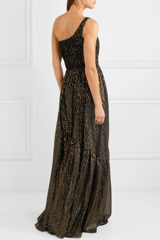Stella McCartney One-shoulder metallic fil coupé silk-blend chiffon gown