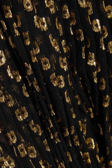 Stella McCartney Robe aus Chiffon aus einer Seidenmischung mit Fil Coupé in Metallic-Optik und asymmetrischer Schulterpartie