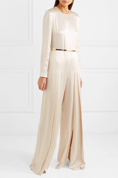 88d064e156cf Stella McCartney. Belted pleated satin jumpsuit