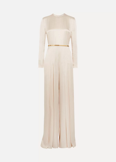 Stella McCartney - Belted pleated satin jumpsuit