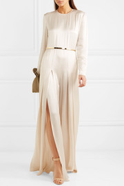 Belted pleated satin jumpsuit