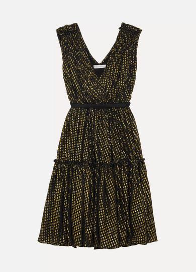 Stella McCartney Kleid aus Seidenchiffon mit Fil Coupé in Metallic-Optik