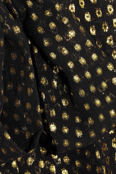 Stella McCartney Chiffonbluse aus einer Seidenmischung mit Metallic-Fil-Coupé und Schluppe Neuesten Kollektionen Zu Verkaufen 5lzhQN