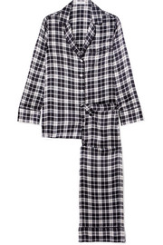 Avery checked washed-silk pajama set