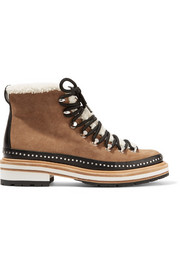 Compass shearling and leather-trimmed suede ankle boots