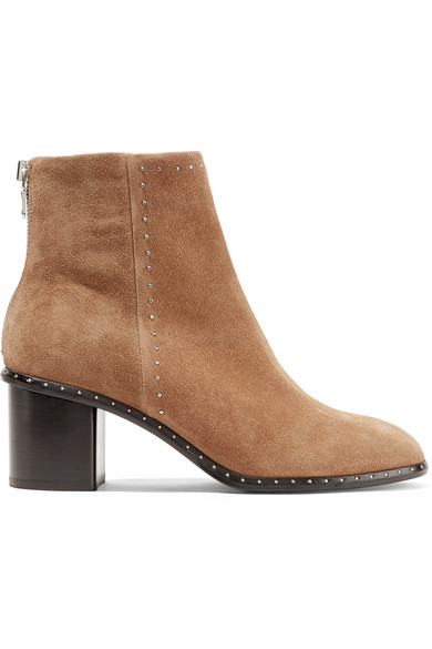 rag & bone - Willow Studded Suede Ankle Boots - Camel