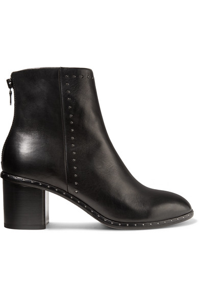rag & bone - Willow Studded Leather Ankle Boots - Black