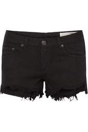 Frayed cut-off denim shorts