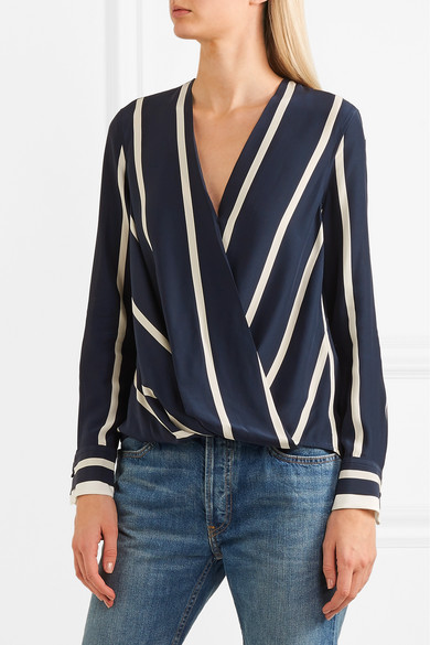 c3602311ad5e39 rag & bone | Victor wrap-effect striped silk crepe de chine blouse ...