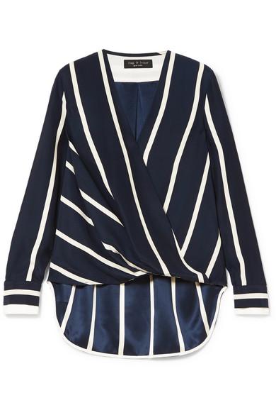 59ec06832c1dd rag   bone. Victor wrap-effect striped silk crepe de chine blouse