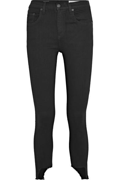 rag & bone The Capri verkürzte, hoch sitzende Skinny Jeans mit Distressed-Details