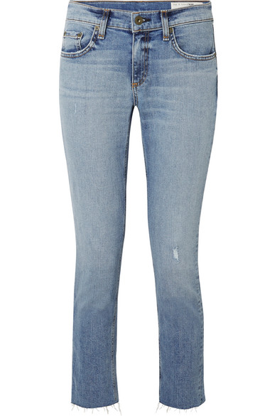 rag & bone Dre tief sitzende Skinny Jeans in Distressed-Optik