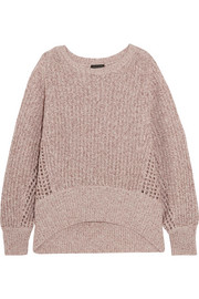 Athena metallic ribbed and open-knit cashmere-blend sweater