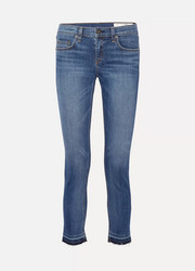 The Dre Capri frayed mid-rise slim-leg jeans