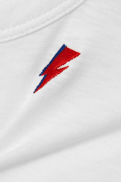 rag & bone Besticktes T-Shirt aus Baumwoll-Jersey mit Flammgarneffekt