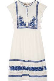 SEA Crochet-trimmed embroidered cotton-gauze mini dress