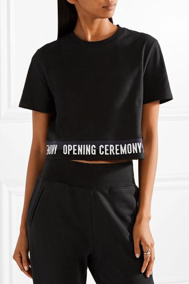Opening Ceremony Verkürztes T-Shirt aus Baumwoll-Jersey