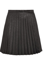 Sweetbriar pleated cotton-blend lamé mini skirt
