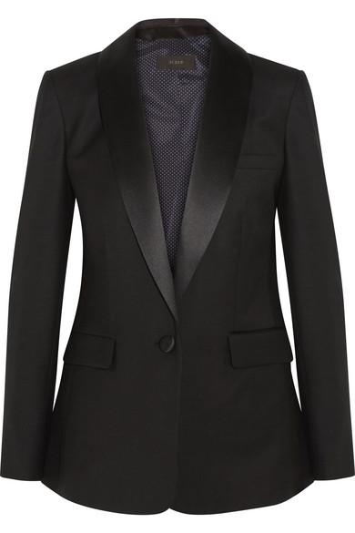 J.Crew - Hugh Satin-trimmed Wool-blend Twill Blazer - Black