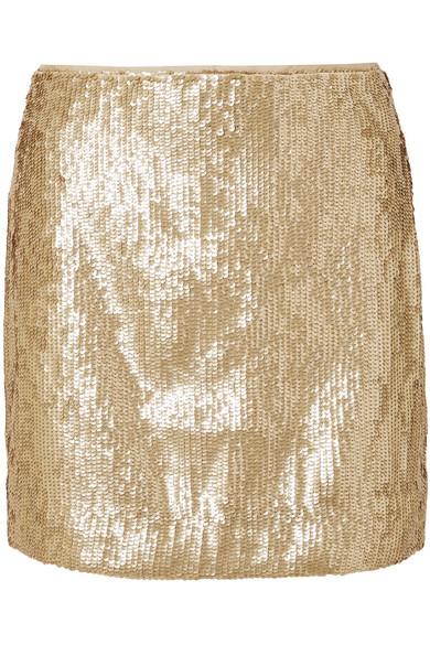 J.Crew - Sequinned Crepe Mini Skirt - Gold