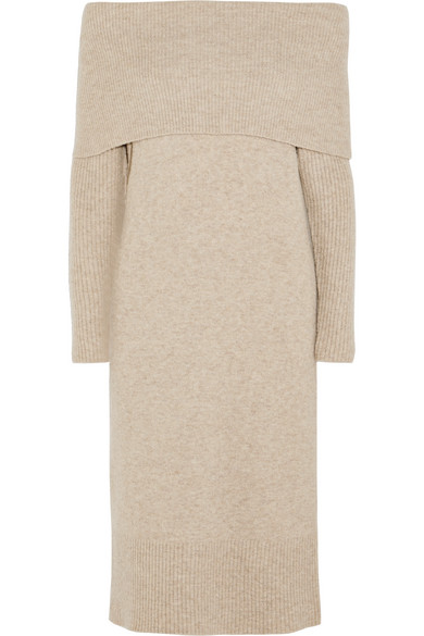 J.Crew - Lana Off-the-shoulder Knitted Midi Dress - Beige