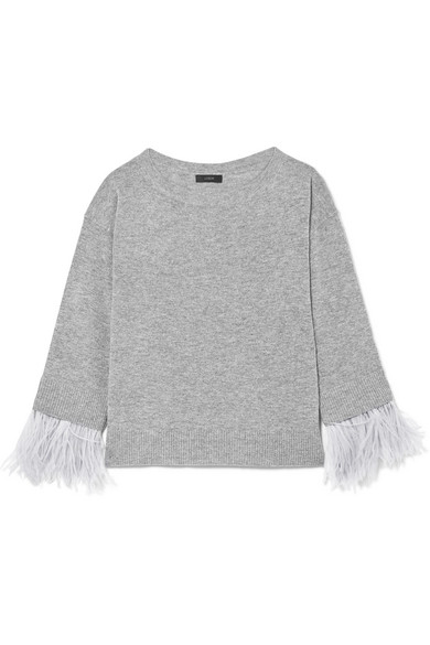 J.Crew - Feather-trimmed Wool-blend Sweater - Gray