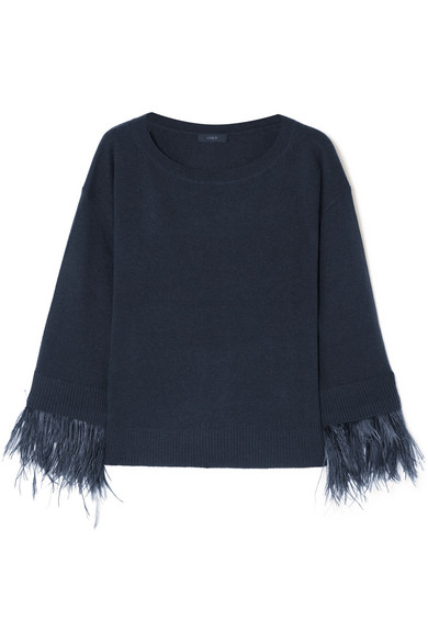 J.Crew - Feather-trimmed Wool-blend Sweater - Navy