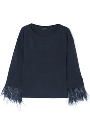 Feather-trimmed wool-blend sweater