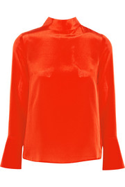 J.Crew Howl draped silk crepe de chine top