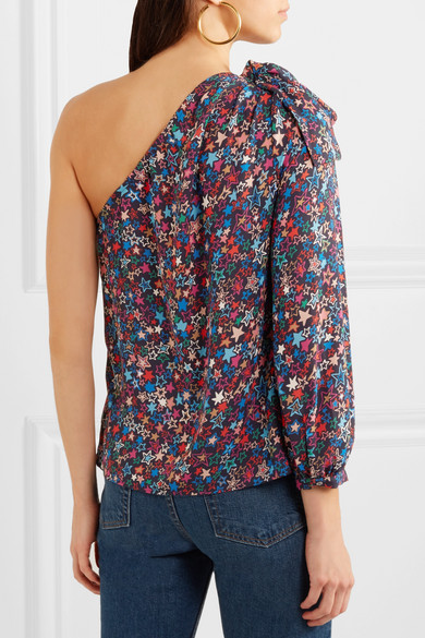 J.crew Jacuzzi Printed Uppers Of Crêpe De Chine With Asymmetric Shoulder Partie