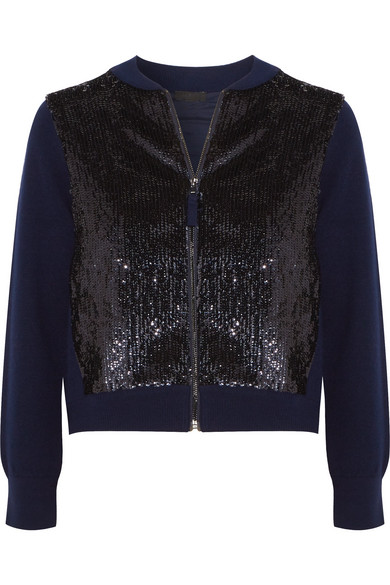 J.Crew - Sequined Tulle And Wool Bomber Jacket - Navy