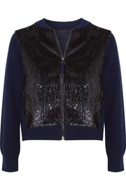 Sequined tulle and wool bomber jacket