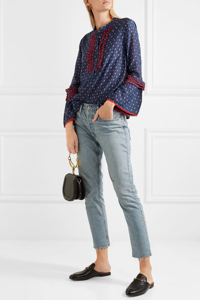 Ludwig embroidered printed cotton and silk-blend blouse