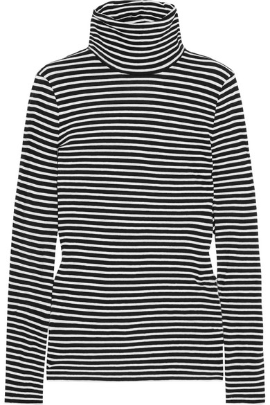 Tissue Striped Cotton-jersey Turtleneck Top - Blue J.crew Outlet Official Site Cheap Factory Outlet Discount Popular B7RizG4KJI