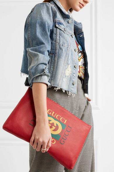 Gucci Bedruckter Beutel aus strukturiertem Leder Bester Preiswerter Großhandelspreis p8NT3Nr
