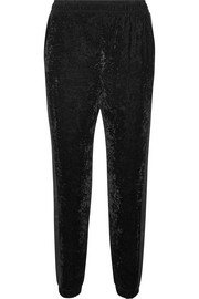 Satin-trimmed velvet track pants