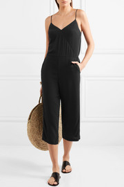 Cropped embroidered satin-trimmed crepe jumpsuit