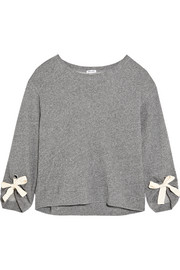 Madison Avenue bow-detailed cotton-jersey sweatshirt