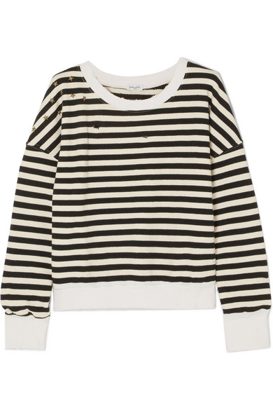 Splendid West Village verziertes, gestreiftes Jersey-Sweatshirt aus einer Baumwollmischung in Distressed-Optik