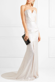 Brenner textured-lamé gown