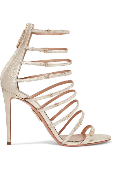 Claudia Schiffer Star Embellished Metallic Textured-Leather Sandals in Gold