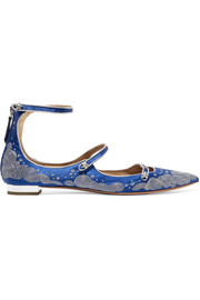 Aquazzura + Claudia Schiffer Cloudy Star embroidered satin point-toe flats