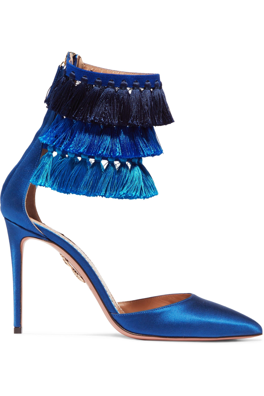 Aquazzura + Claudia Schiffer Loulou's tasseled satin pumps