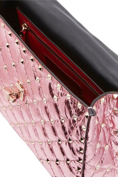 Spielraum Neuesten Kollektionen Valentino Rockstud Spike mittelgroße Schultertasche aus gestepptem Metallic-Leder Freies Verschiffen Auslass Freies Verschiffen Verkauf Online Günstig Kaufen Billigsten 2EWW5