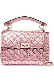 Rockstud Spike medium quilted metallic leather shoulder bag