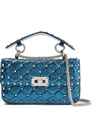 Valentino Rockstud Spike small quilted metallic leather shoulder bag